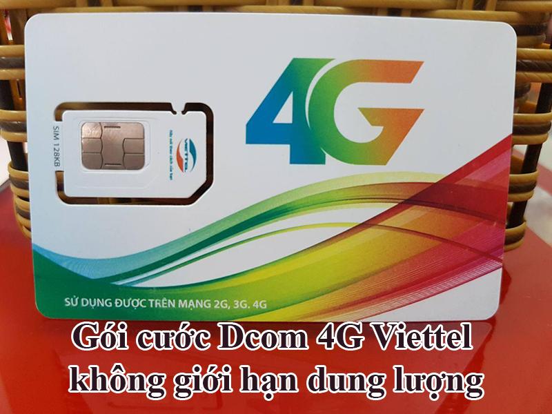 Gói cước Dcom 4G Viettel không giới hạn dung lượng