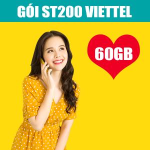 Gói ST200 Viettel ưu đãi 60GB + Miễn phí 100 phút ngoại mạng