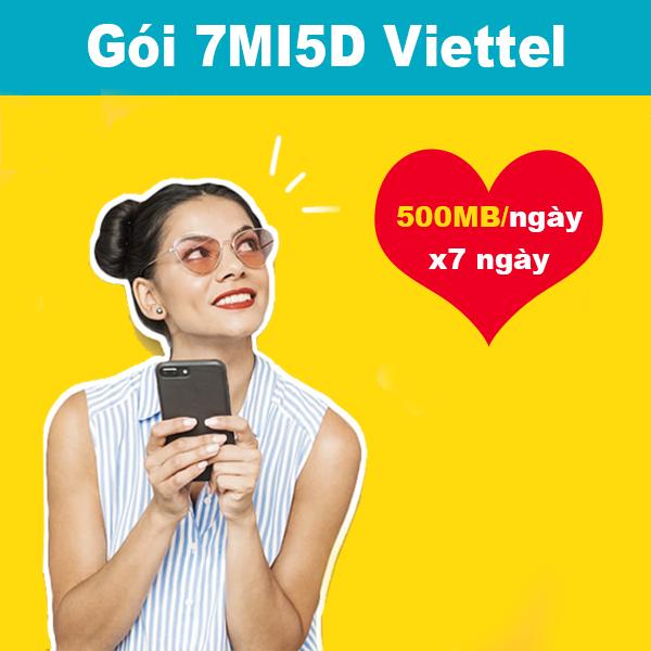 Gói 7MI5D Viettel khuyến mãi 500MB/ngày trong 7 ngày giá chỉ 35k