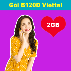 Gói B120D Viettel ưu đãi 2GB+300 phút nội mạng+50 SMS chỉ 120K/tháng
