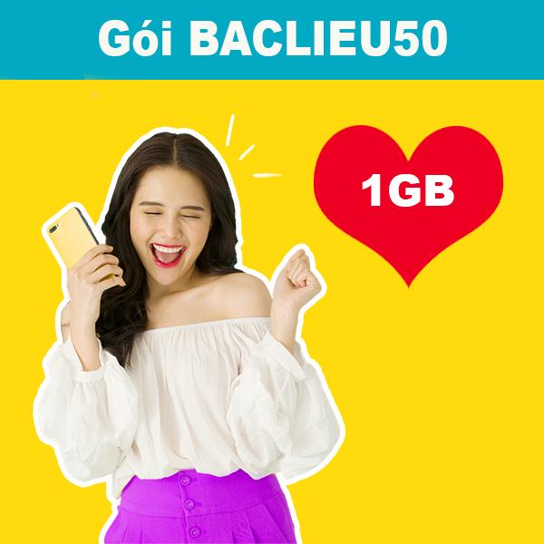 Gói BACLIEU50 Viettel 1GB, 30 phút/cuộc nội mạng, 30 phút ngoại mạng