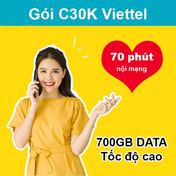 Gói C30K Viettel ưu đãi 700MB + 70 phút gọi nội mạng giá 30k/tháng