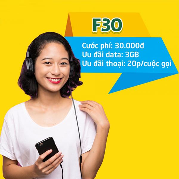 Gói F30 Viettel ưu đãi 3GB + 20 phút thoại nội mạng/cuộc 30k/7 ngày