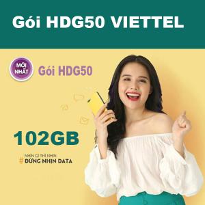 Gói HDG50 Viettel ưu đãi 102GB giá 50k/tháng tại Hải Dương