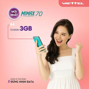 Gói MIMAX70 Viettel ưu đãi 3GB giá chỉ 70k/tháng