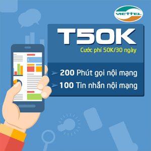 Gói T50K Viettel ưu đãi 200 phút thoại nội mạng giá chỉ 50k/tháng