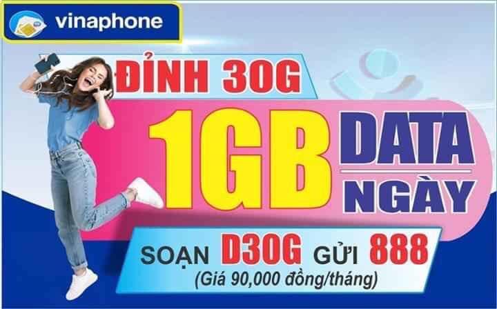 Đăng ký D30G Vinaphone- Tặng 30GB chỉ với 90.000đ