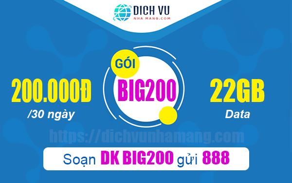 Đăng ký Big200 Vinaphone ưu đãi 22GB Data trong 30 ngày
