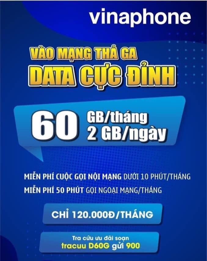 D60G Vinaphone ưu đãi cực khủng 60GB + hàng nghìn phút gọi