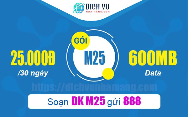 Gói M25 Vinaphone ưu đãi 600MB trong tháng chỉ với 25.000đ