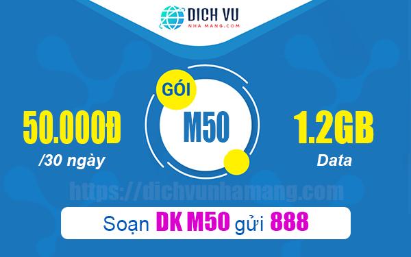 Gói M50 của Vinaphone cung cấp Data sử dụng 1 tháng chỉ 50.000đ