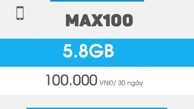 Đăng ký gói Max100 Vinaphone ưu đãi 5,8GB Data trong tháng