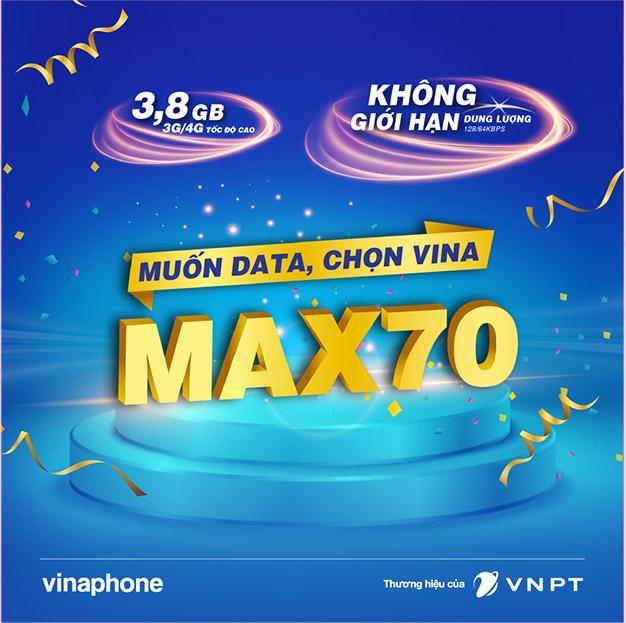 Max Vinaphone không giới hạn dung lượng chỉ với 70.000đ
