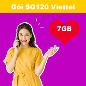 Gói SG120 Viettel ưu đãi 7GB + 20 phút/cuộc nội mạng giá chỉ 120k/tháng