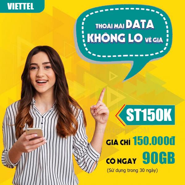 Gói ST150K Viettel ưu đãi 90GB + Miễn phí Data ViettelTV