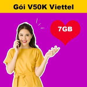 Gói V50K Viettel ưu đãi 7GB + 20 phút/cuộc nội mạng 50k/tháng