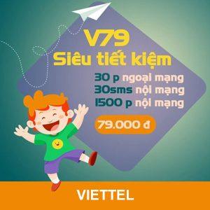 Gói V79 Viettel ưu đãi 1500 phút/cuộc nội mạng 79k/tháng