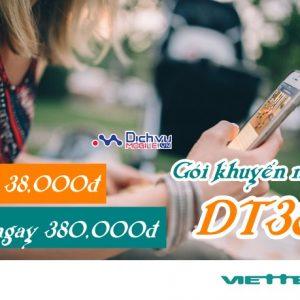 Gói DT38 Viettel ưu đãi 380K gọi nội mạng giá chỉ 38k/tháng