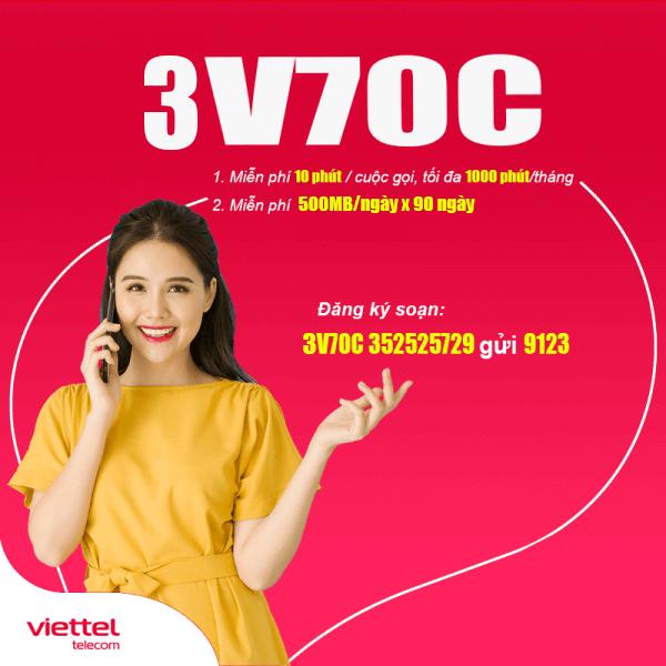 Nơi nhập dữ liệu Gói 3V70C Viettel miễn phí 45GB + Gọi Nội Mạng Dưới 10 phút