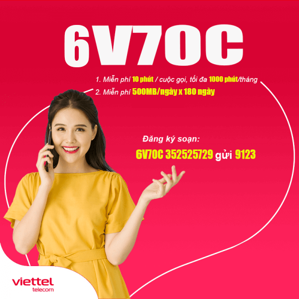 Gói 6V70C Viettel miễn phí 90GB + Gọi Nội Mạng Dưới 10 phút